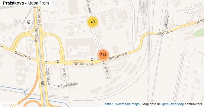 Pražákova - mapa rozložení firem v ulici.