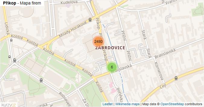 Příkop - mapa rozložení firem v ulici.