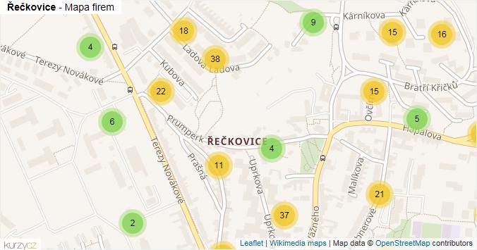 Řečkovice - mapa rozložení firem v části obce.