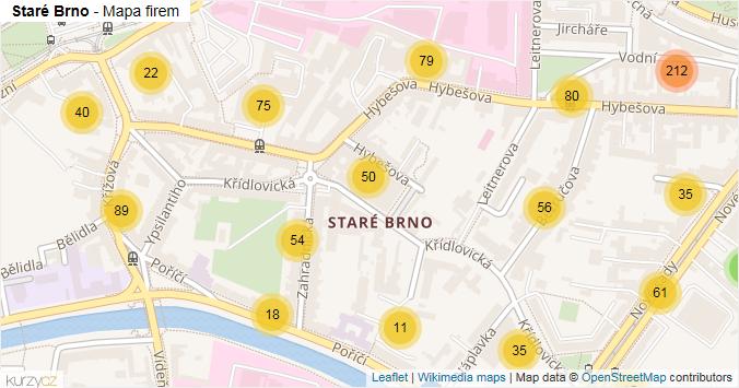 Staré Brno - mapa rozložení firem v části obce.