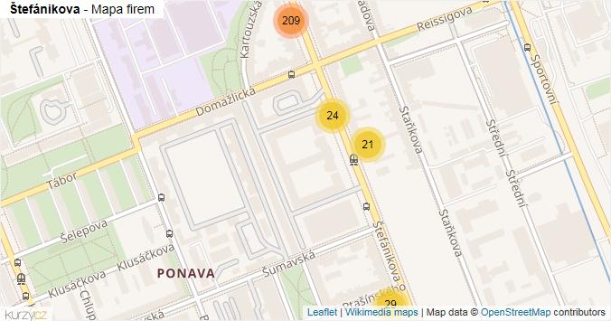 Štefánikova - mapa rozložení firem v ulici.