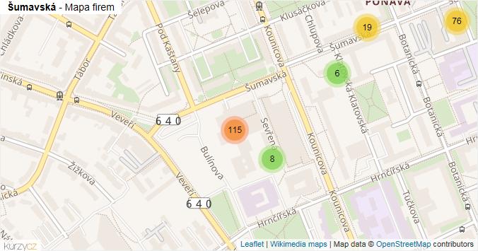 Šumavská - mapa rozložení firem v ulici.