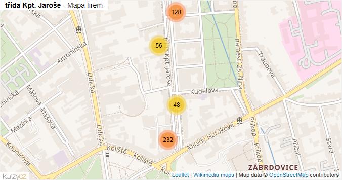 třída Kpt. Jaroše - mapa rozložení firem v ulici.
