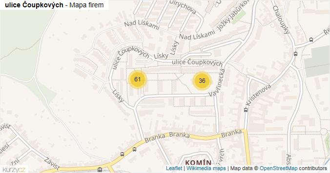 ulice Čoupkových - mapa rozložení firem v ulici.
