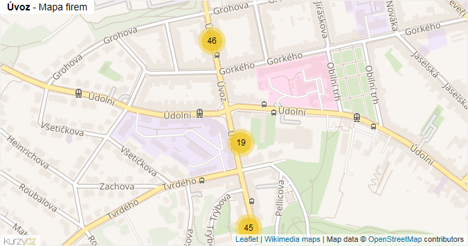 Úvoz - mapa rozložení firem v ulici.