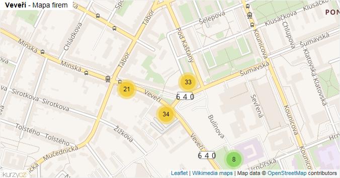 Veveří - mapa rozložení firem v ulici.