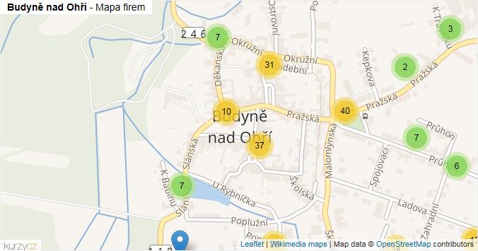 Budyně nad Ohří - mapa rozložení firem v části obce.