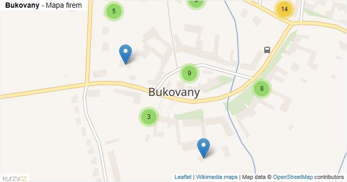 Bukovany - mapa rozložení firem v obci.
