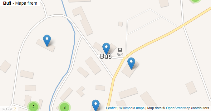 Buš - mapa rozložení firem v obci.