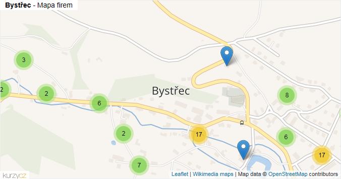 Bystřec - mapa rozložení firem v části obce.