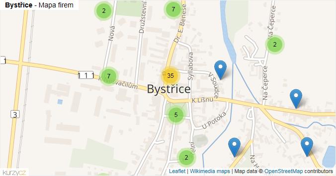 Bystřice - mapa rozložení firem v obci.
