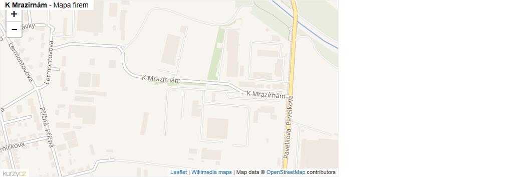 K Mrazírnám - mapa rozložení firem v ulici.