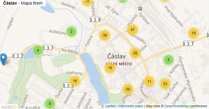 Čáslav - mapa rozložení firem v obci.