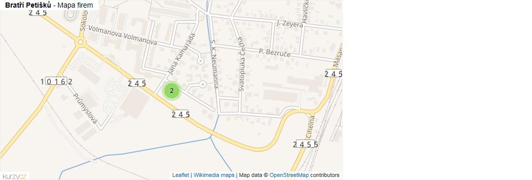 Bratří Petišků - mapa rozložení firem v ulici.