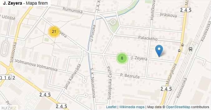 J. Zeyera - mapa rozložení firem v ulici.