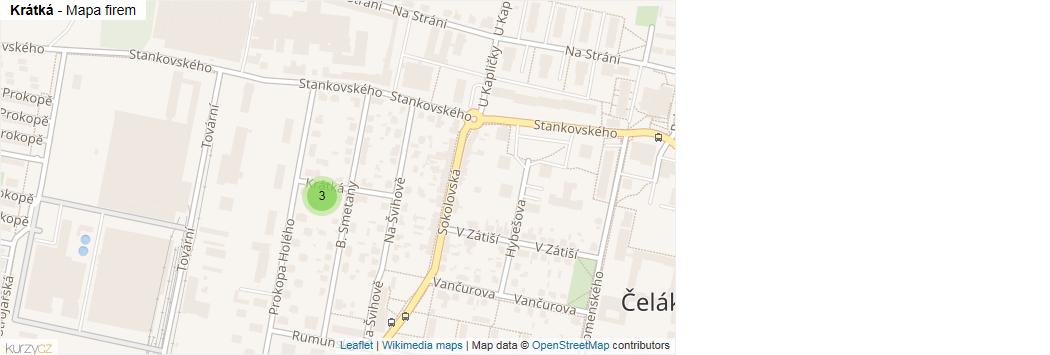 Krátká - mapa rozložení firem v ulici.