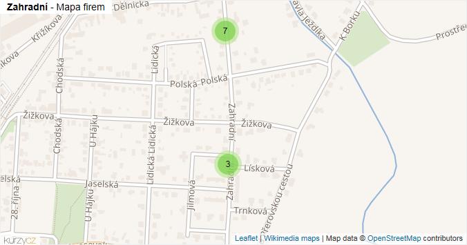 Zahradní - mapa rozložení firem v ulici.