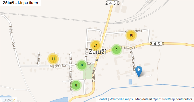 Záluží - mapa rozložení firem v části obce.