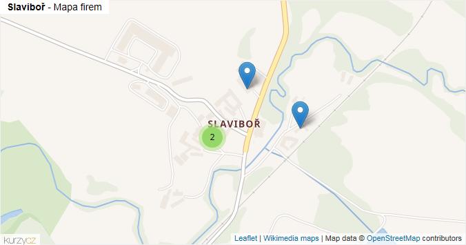 Slaviboř - mapa rozložení firem v části obce.