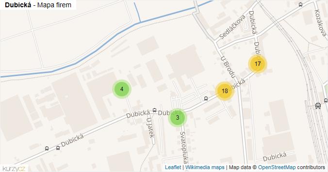 Dubická - mapa rozložení firem v ulici.