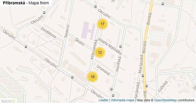 Příbramská - mapa rozložení firem v ulici.