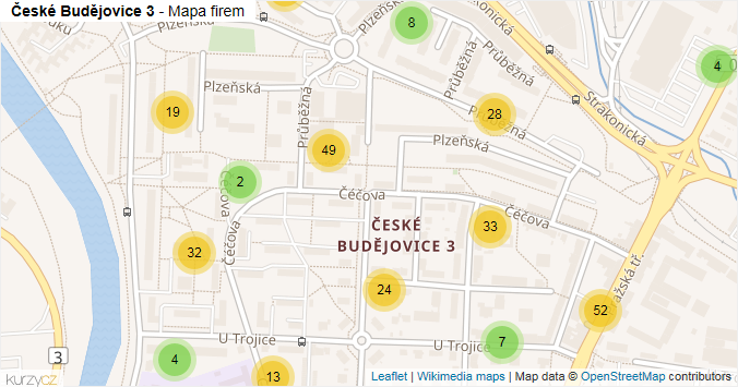 České Budějovice 3 - mapa rozložení firem v části obce.