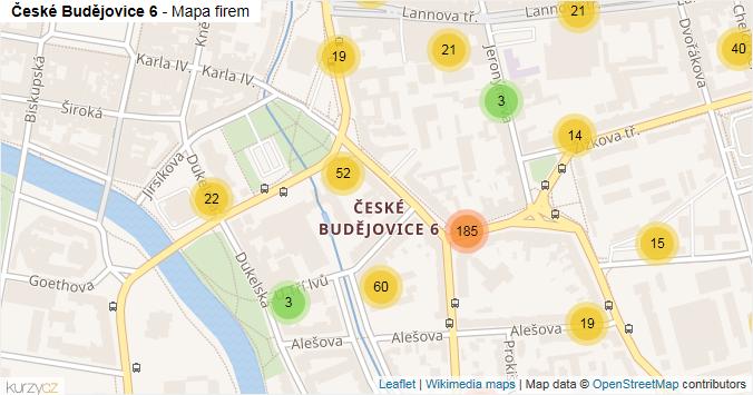 České Budějovice 6 - mapa rozložení firem v části obce.