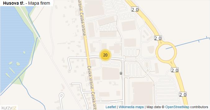 Husova tř. - mapa rozložení firem v ulici.