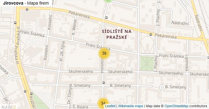 Jírovcova - mapa rozložení firem v ulici.