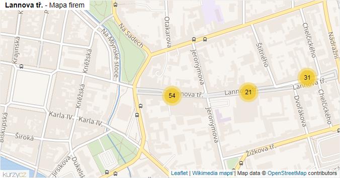 Lannova tř. - mapa rozložení firem v ulici.