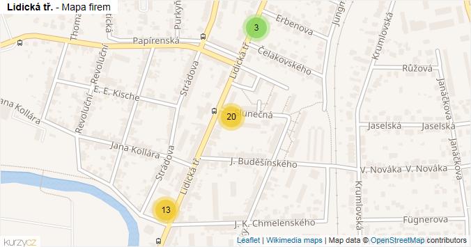 Lidická tř. - mapa rozložení firem v ulici.