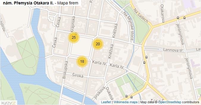 nám. Přemysla Otakara II. - mapa rozložení firem v ulici.