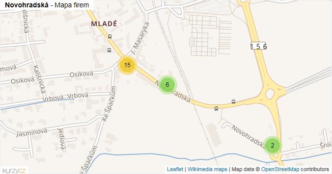 Novohradská - mapa rozložení firem v ulici.