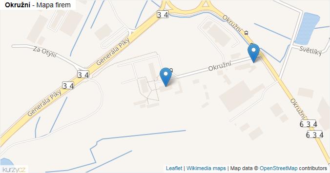 Okružní - mapa rozložení firem v ulici.