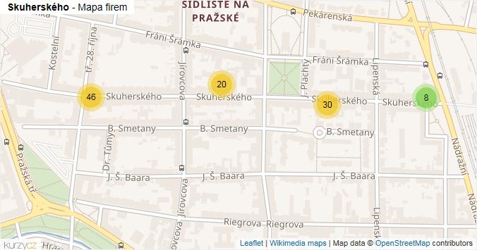 Skuherského - mapa rozložení firem v ulici.