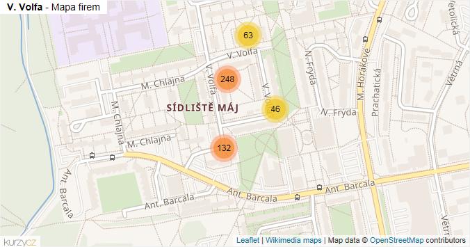 V. Volfa - mapa rozložení firem v ulici.