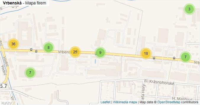 Vrbenská - mapa rozložení firem v ulici.