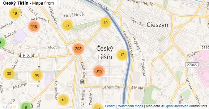Český Těšín - mapa rozložení firem v obci.