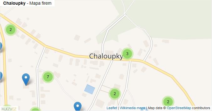 Chaloupky - mapa rozložení firem v obci.