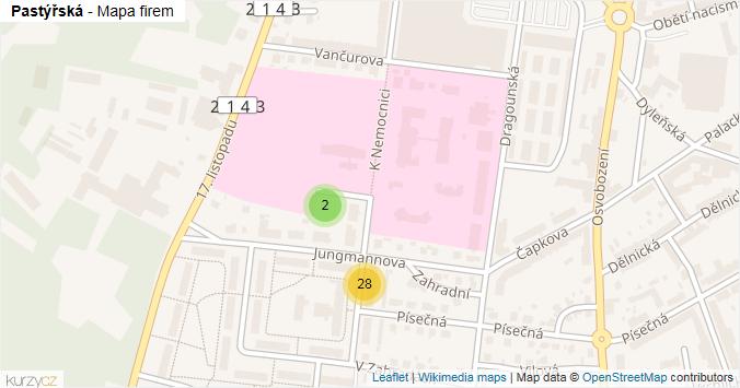 Pastýřská - mapa rozložení firem v ulici.