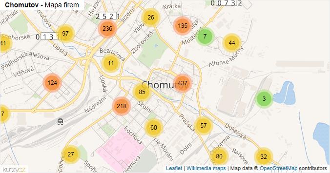 Chomutov - mapa rozložení firem v obci.