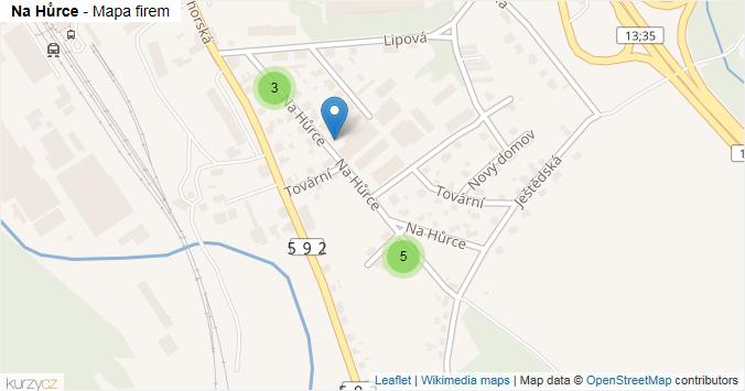 Na Hůrce - mapa rozložení firem v ulici.