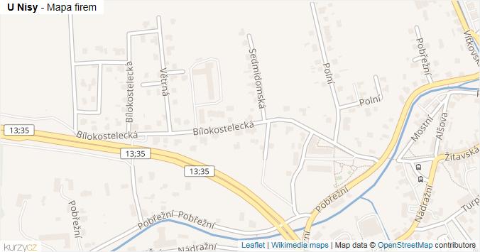 U Nisy - mapa rozložení firem v ulici.