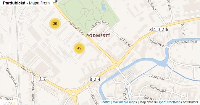 Pardubická - mapa rozložení firem v ulici.