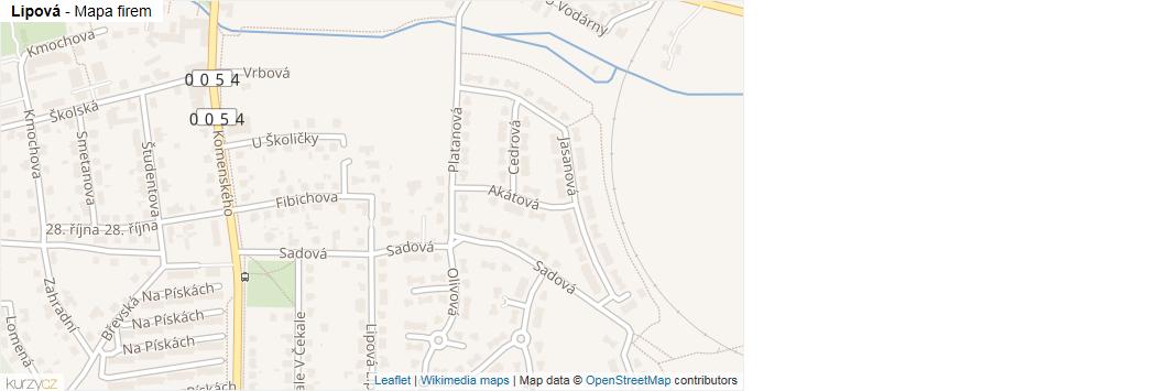 Lipová - mapa rozložení firem v ulici.
