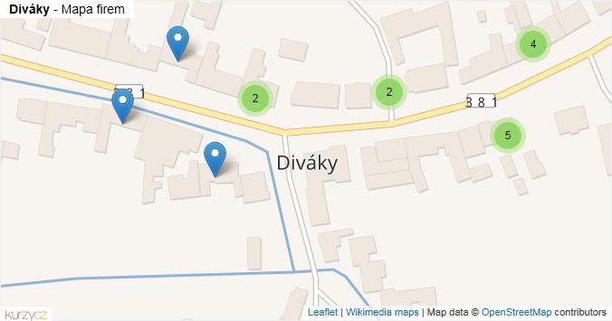 Diváky - mapa rozložení firem v obci.