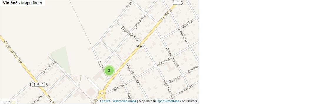 Viničná - mapa rozložení firem v ulici.