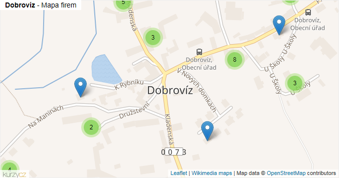 Dobrovíz - mapa rozložení firem v obci.