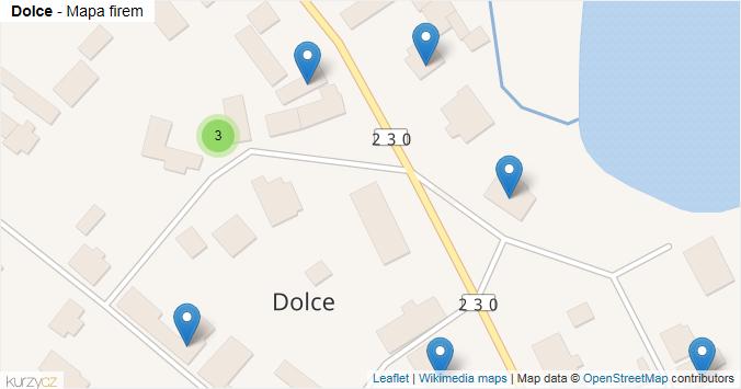 Dolce - mapa rozložení firem v obci.