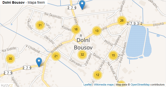 Dolní Bousov - mapa rozložení firem v obci.